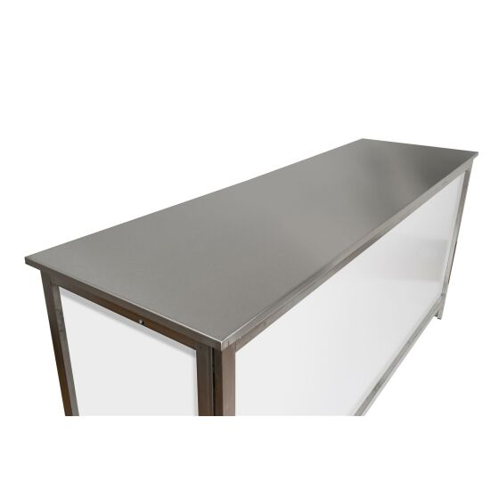 GDW folding   Counter with stainless steel frame / worktop (brushed) in 1.25, 1.5 or 2m