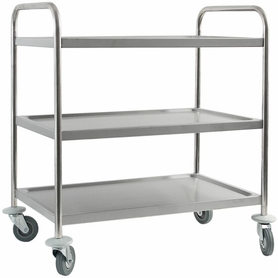 Trolley made of stainless steel, with three shelves, 860 x 540 x 920 mm (WxDxH)